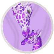 Mother Giraffe Round Beach Towel