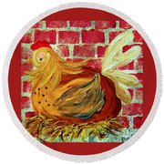 Round Beach Towel featuring the painting Mother Hen by Eloise Schneider