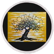 Round Beach Towel featuring the drawing Mother Love Tree by Aaron Bombalicki