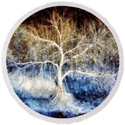 Round Beach Towel featuring the painting Mother Natures Dance by Janine Riley