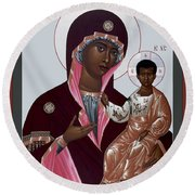 Mother Of God - Protectress Of The Oppressed - Rlpoo Round Beach Towel