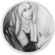 Mother Of Sorrows Version1 Round Beach Towel