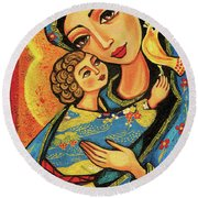Mother Temple Round Beach Towel