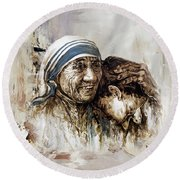 Round Beach Towel featuring the painting Mother Teresa  by Gull G