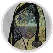 Round Beach Towel featuring the mixed media Mother Teresa  Never Forget by Ann Calvo