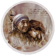 Round Beach Towel featuring the painting Mother Teresa Of Calcutta  by Gull G