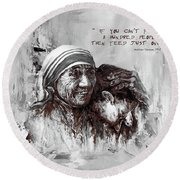 Round Beach Towel featuring the painting Mother Teresa Of Calcutta Portrait  by Gull G