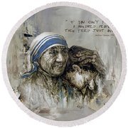Round Beach Towel featuring the painting Mother Teresa Portrait  by Gull G