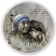 Mother Teresa Portrait  Round Beach Towel