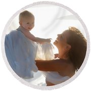 Mother With Baby In Pure Joy, Marin County, California Round Beach Towel
