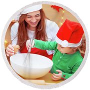 Mother With Son Baking Christmas Cookies Round Beach Towel