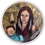 Motherhood-guardian Spirits Round Beach Towel