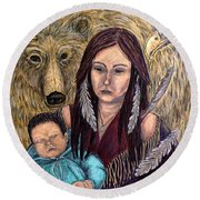 Motherhood-guardian Spirits Round Beach Towel