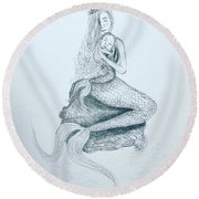 Motherhood Mermaid Round Beach Towel