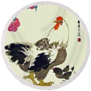 Motherly Love Round Beach Towel by Yufeng Wang