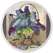 Mothers Day Lilacs Round Beach Towel