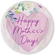 Mother's Day Wishes Round Beach Towel