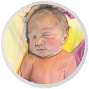 Round Beach Towel featuring the drawing Mother's Love -isabelle by Jan Dappen