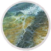 Round Beach Towel featuring the painting Motion Of The Ocean by Darice Machel McGuire