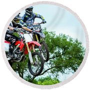 Round Beach Towel featuring the photograph Motocross Battle by David Morefield