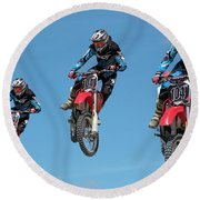 Motocross Riders Round Beach Towel