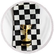 Motor Sport Racing Tie And Trophy Round Beach Towel