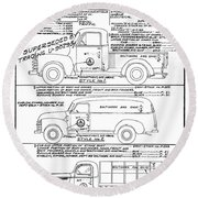 Motor Vehicles Round Beach Towel