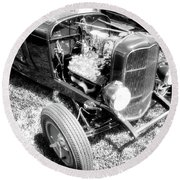 Motor Wheel Bw Round Beach Towel