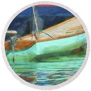 Motorboat - Reflection Round Beach Towel