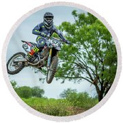 Round Beach Towel featuring the photograph Motocross Aerial by David Morefield