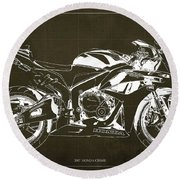 Motorcycle Blueprint Honda Cbr600 Gift For Him Gift For Her Round Beach Towel