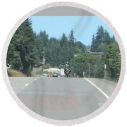Round Beach Towel featuring the photograph Motorcycle Club Aka Four by Marie Neder