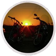 Motorcycle Sunset Round Beach Towel