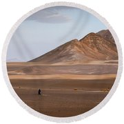 Motorcycles In Persian Desert Round Beach Towel