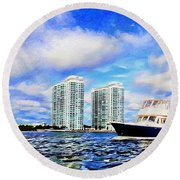 Motoring Past The Marina Grande Round Beach Towel