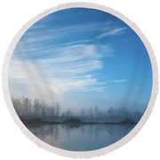 Round Beach Towel featuring the photograph Mottled Sky by Davor Zerjav