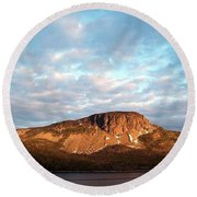 Round Beach Towel featuring the photograph Mottled Sky Of Late Spring by Barbara Griffin
