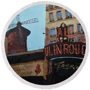 Moulin Rouge Round Beach Towel