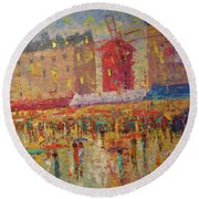 Moulin Rouge Paris Round Beach Towel