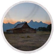 Moulton Ranch Sunset On Mormon Row Round Beach Towel