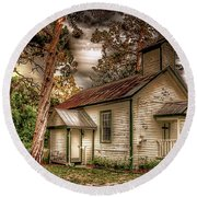 Moultrie Church At Dusk Round Beach Towel