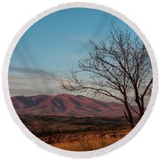 Mount Ara At Sunset With Dead Tree In Front, Armenia Round Beach Towel