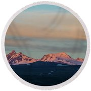 Mount Aragats, The Highest Mountain Of Armenia, At Sunset Under Beautiful Clouds Round Beach Towel by Gurgen Bakhshetsyan