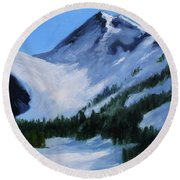 Round Beach Towel featuring the painting Mount Baker Glacier by Nancy Merkle