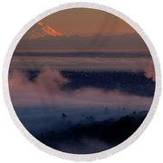 Mount Baker In The Distance Round Beach Towel by Mike Reid