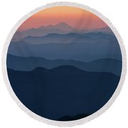 Mount Baker Sunset Landscape Layers Closer Round Beach Towel by Mike Reid