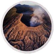 Mount Bromo At Sunrise Round Beach Towel