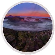 Mount Bromo Misty Sunrise Round Beach Towel