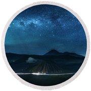 Mount Bromo Resting Under Million Stars Round Beach Towel