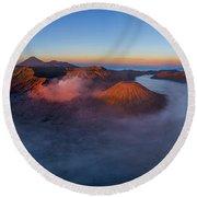 Mount Bromo Scenic View Round Beach Towel